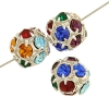 Rhinestone Bead 10mm Silver/ Multi